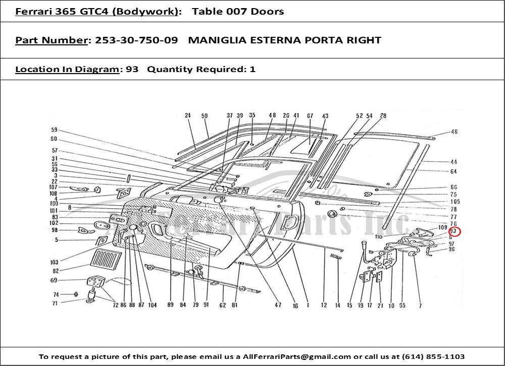 Ferrari Part Number Maniglia Esterna Porta Right