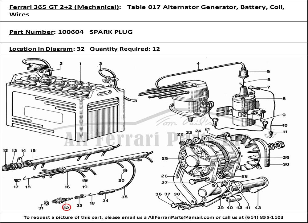 ferrari part number 100604 spark plug rh allferrariparts com Ferrari 365 GTC Ferrari 250 GT California
