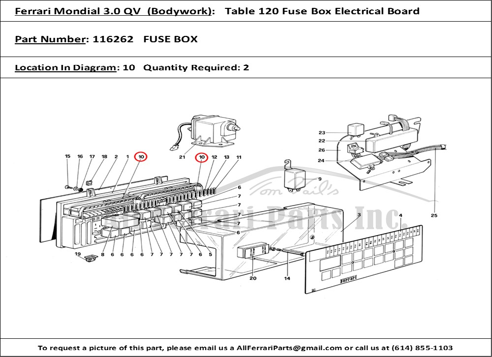 ferrari part number 116262 fuse box, Wiring diagram