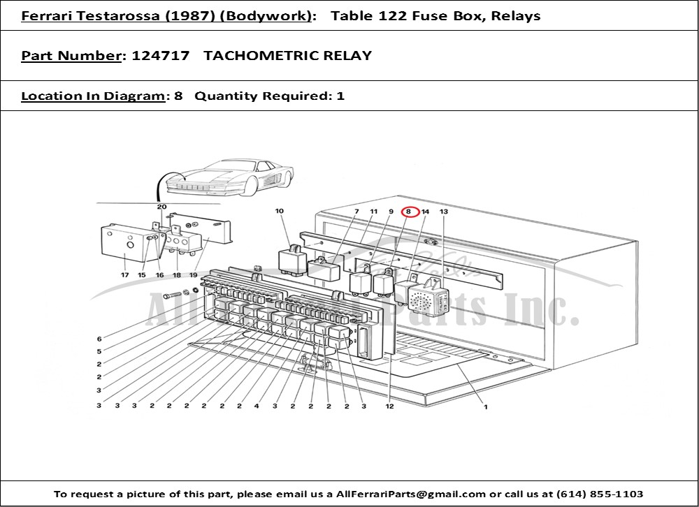 Ferrari Part Number 124717 Tachometric Relay
