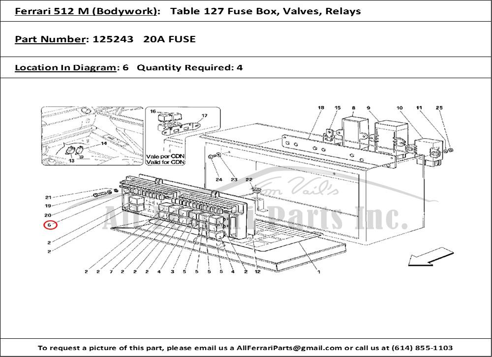 ferrari part number 125243 20a fuse ferrari fuse block ferrari part number 125243, 20a fuse, shown here as used in a ferrari 512 m (bodywork table 127 fuse box, valves, relays)