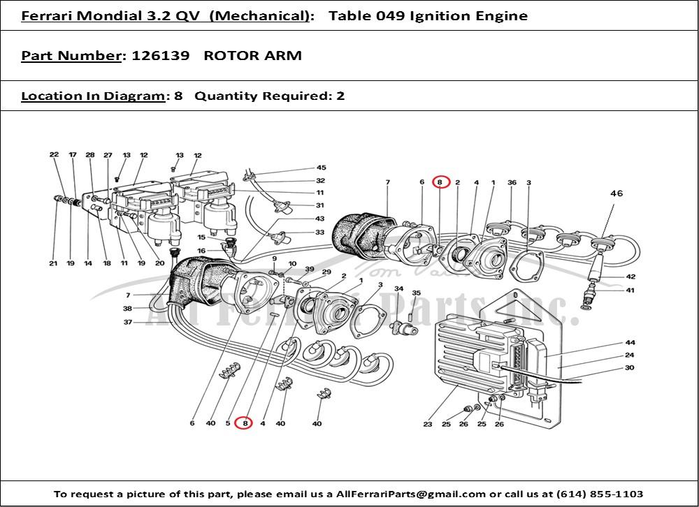 Ferrari Part Number 126139 Rotor Arm