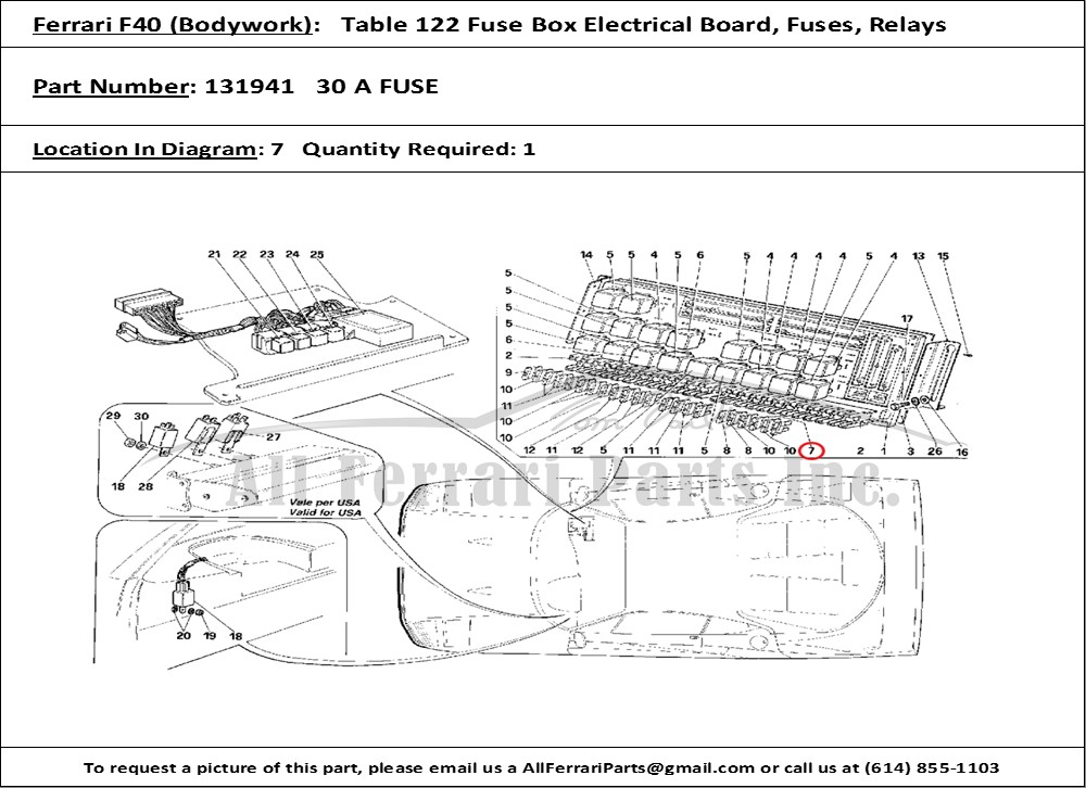 ferrari part number 131941 30 a fuse 2000 ford focus fuse box diagram ferrari part number 131941, 30 a fuse, shown here as used in a ferrari f40 (bodywork table 122 fuse box electrical board, fuses, relays)