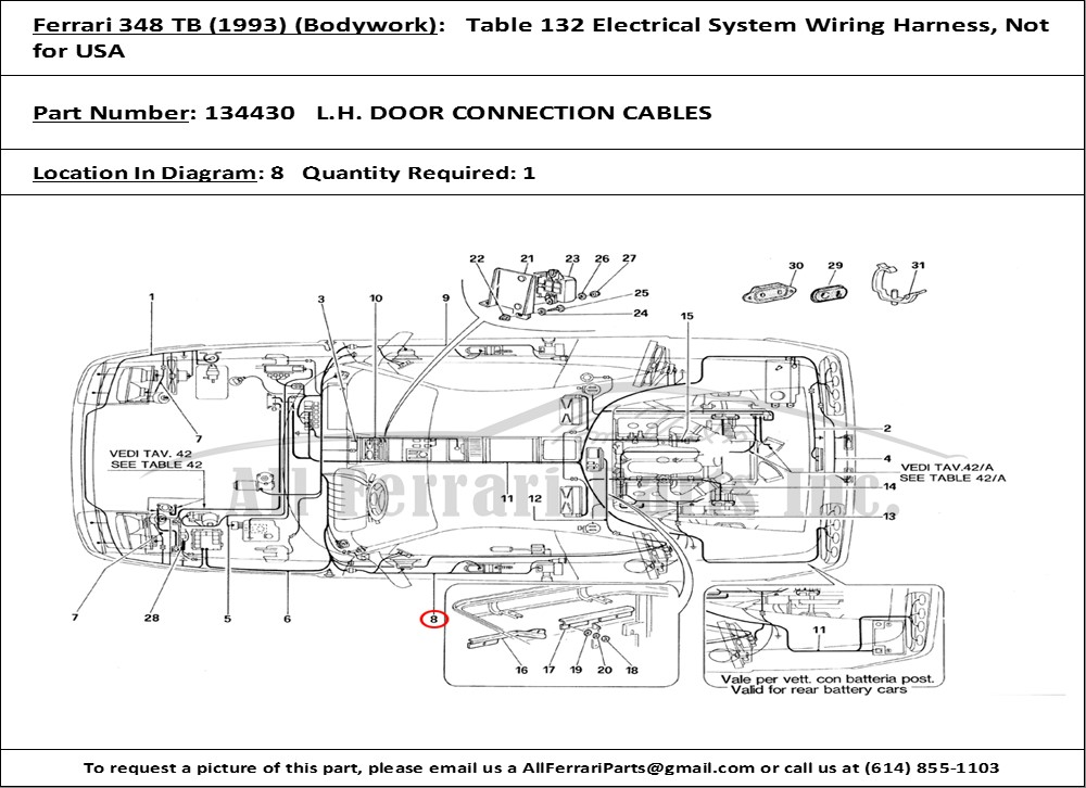 ferrari part number 134430 l h door connection cables rh allferrariparts com Ferrari Testarossa ferrari 348 wiring diagram