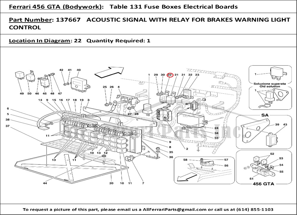 Ferrari Part Number 137667 Acoustic Signal With Relay For Brakes Rhallferrariparts: Gta Fuse Box At Gmaili.net