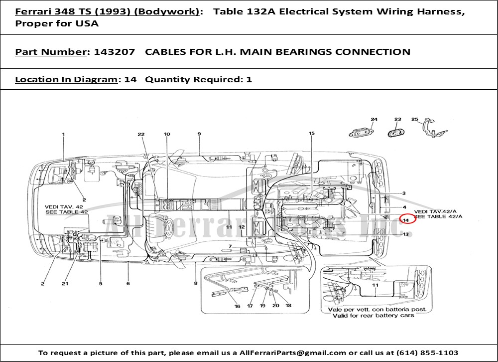 Brilliant Ferrari Part Number 143207 Cables For L H Main Bearings Connection Wiring Database Wedabyuccorg