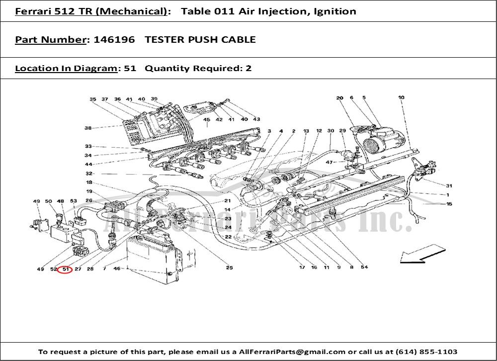 Ferrari part number 146196 TESTER PUSH CABLE on ferrari 512 s, ferrari 512 tr, ferrari 512 le mans, ferrari 456 m, ferrari 512 bb, ferrari 512 bbi,