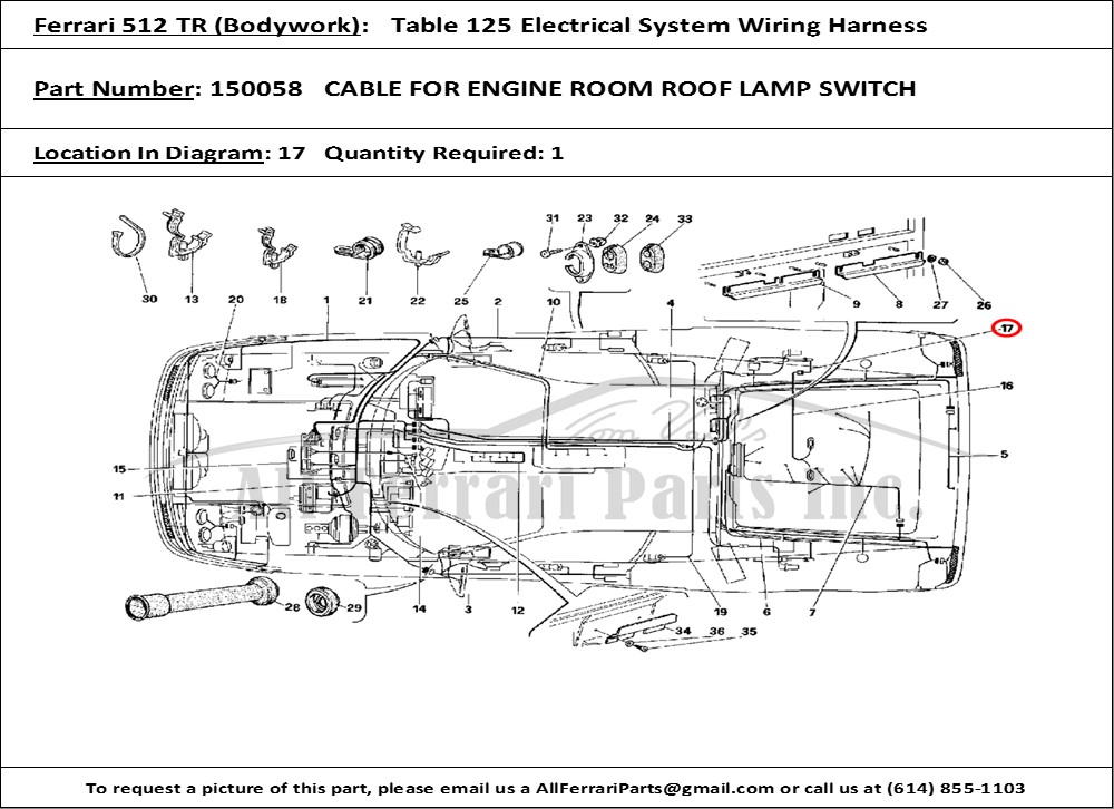 ferrari part number 150058 cable for engine room roof lamp ... ferrari parts diagram