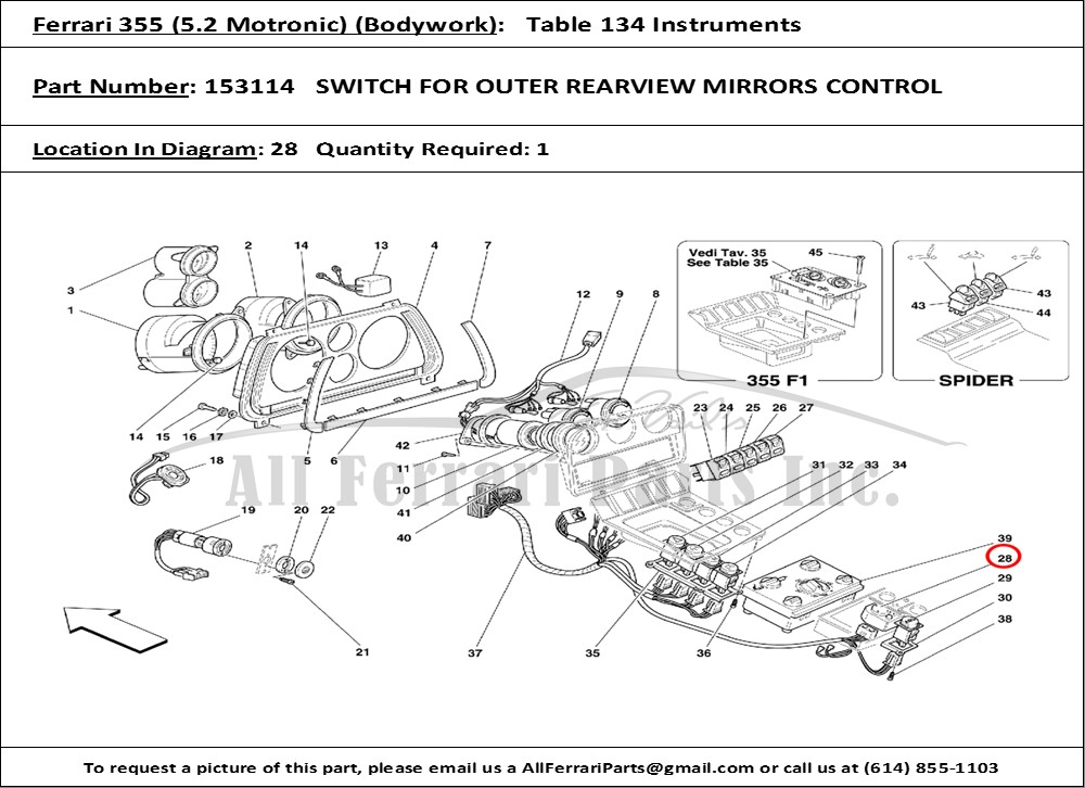 ferrari 456 gt wiring diagrams ferrari part number 153114 switch for outer rearview mirrors control
