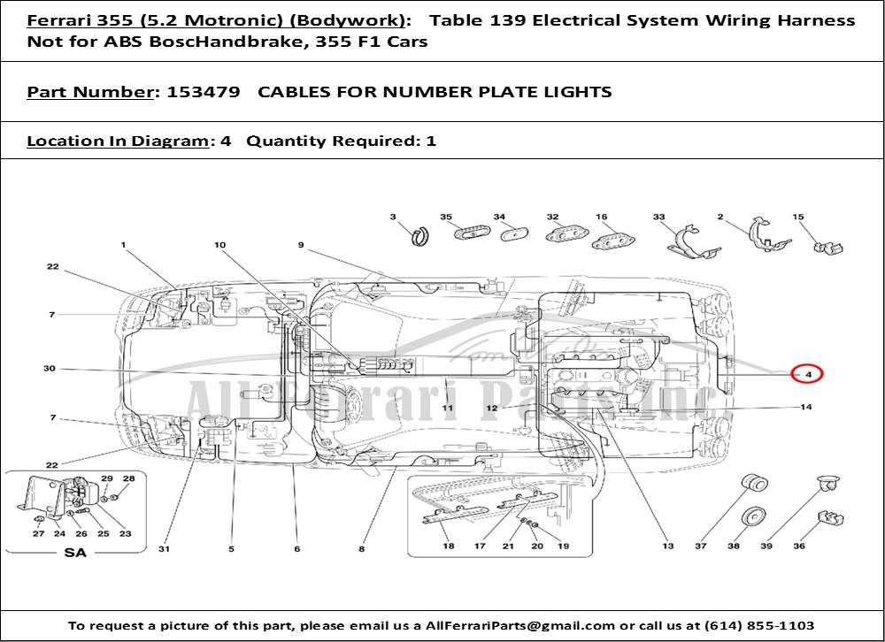 ferrari part number 153479 cables for number plate lights. Black Bedroom Furniture Sets. Home Design Ideas