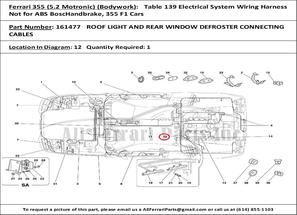 ferrari part number 161477 roof light and rear window ... ferrari 456 wiring diagram