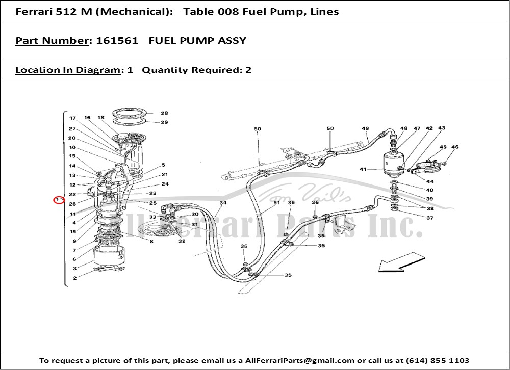 ferrari part number 161561 fuel pump assy ferrari parts diagram reese fifth wheel hitch parts diagram