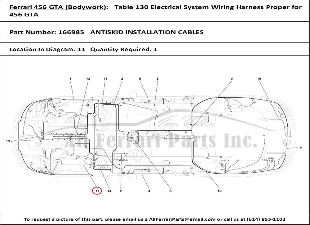 ferrari part number 166985 antiskid installation cables ferrari 456 gt wiring diagrams