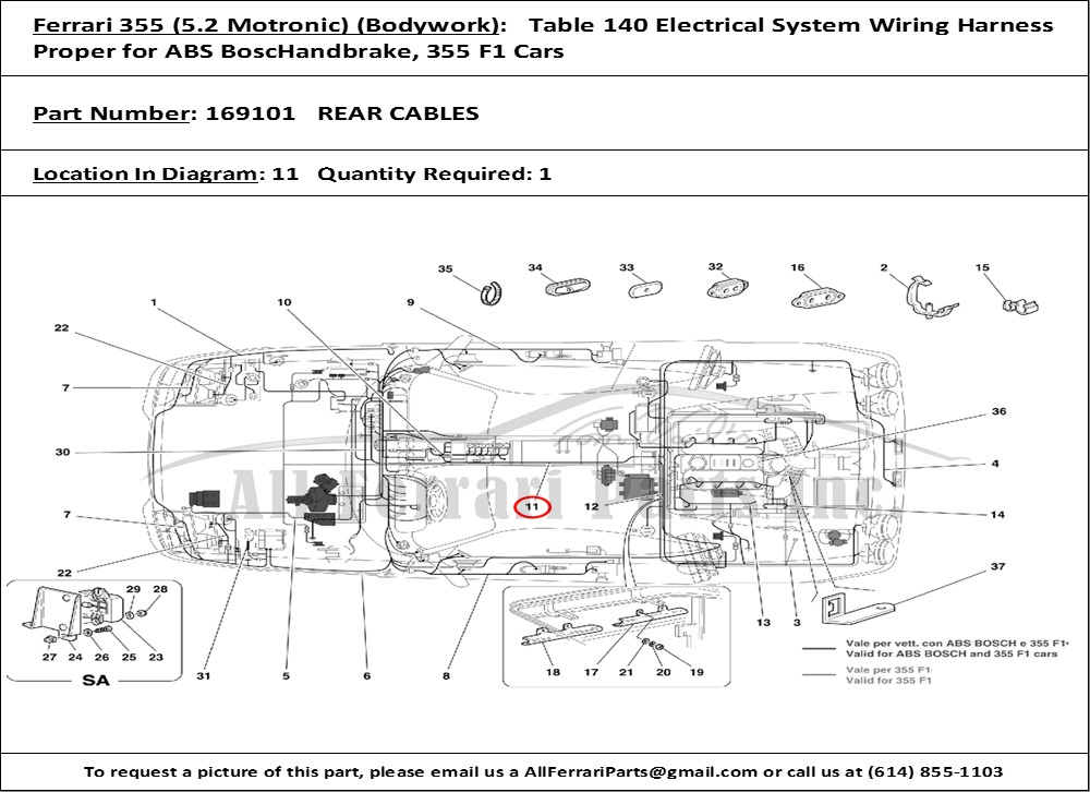 PN169101ID91566 ferrari part number 169101 rear cables ferrari 355 wiring diagram at crackthecode.co