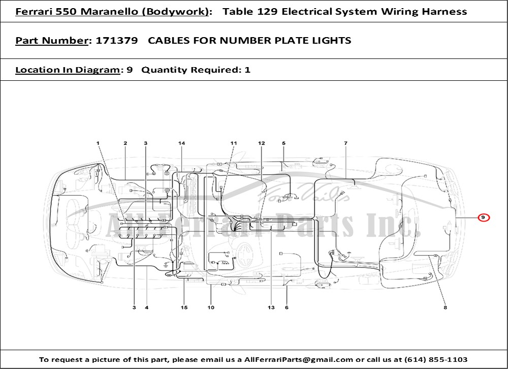 Magnificent Ferrari Part Number 171379 Cables For Number Plate Lights Wiring Database Rimengelartorg