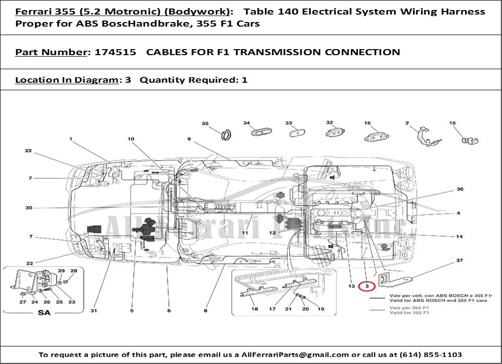 ferrari part number 174515 cables for f1 transmission. Black Bedroom Furniture Sets. Home Design Ideas