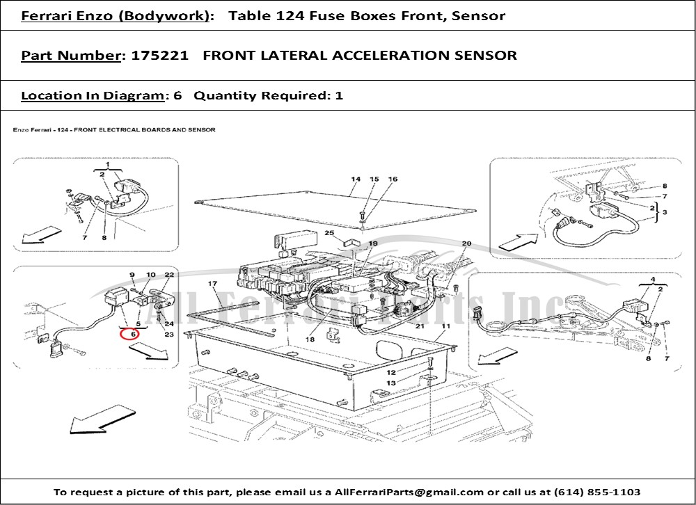 Ferrari Part Number 175221 Front Lateral Acceleration Sensor