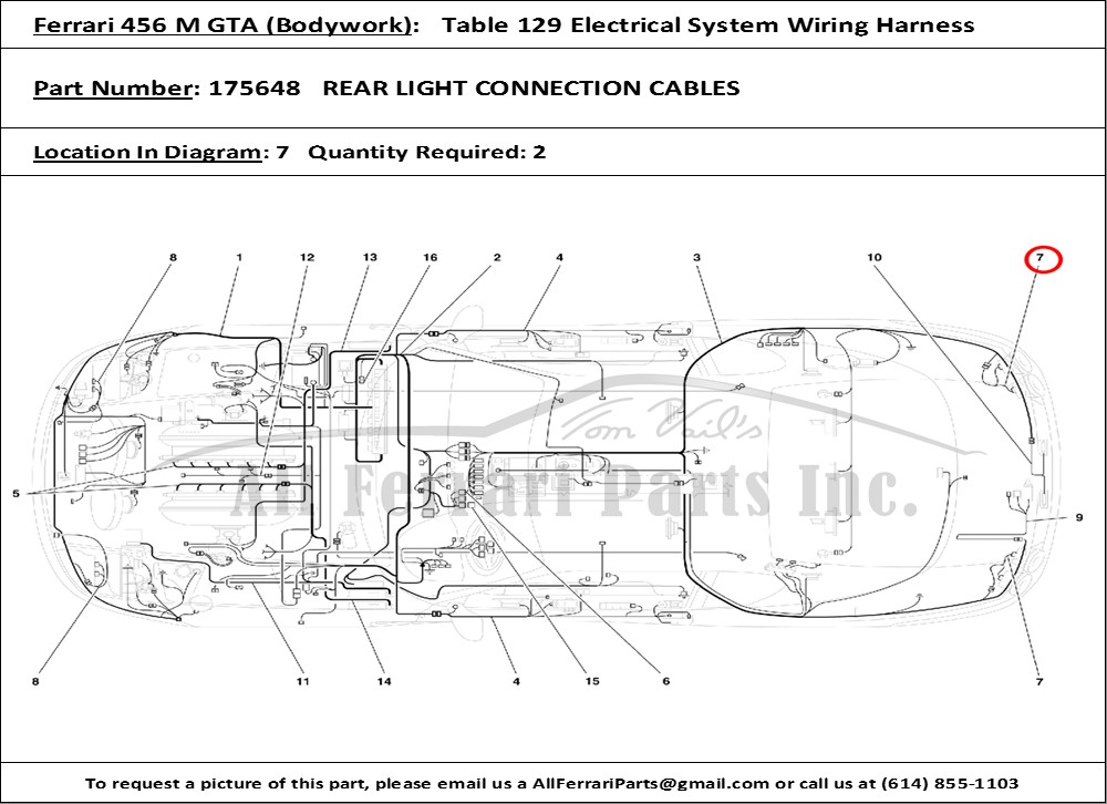 ferrari part number 175648 rear light connection cables rh allferrariparts com  ferrari 456 gt wiring diagram