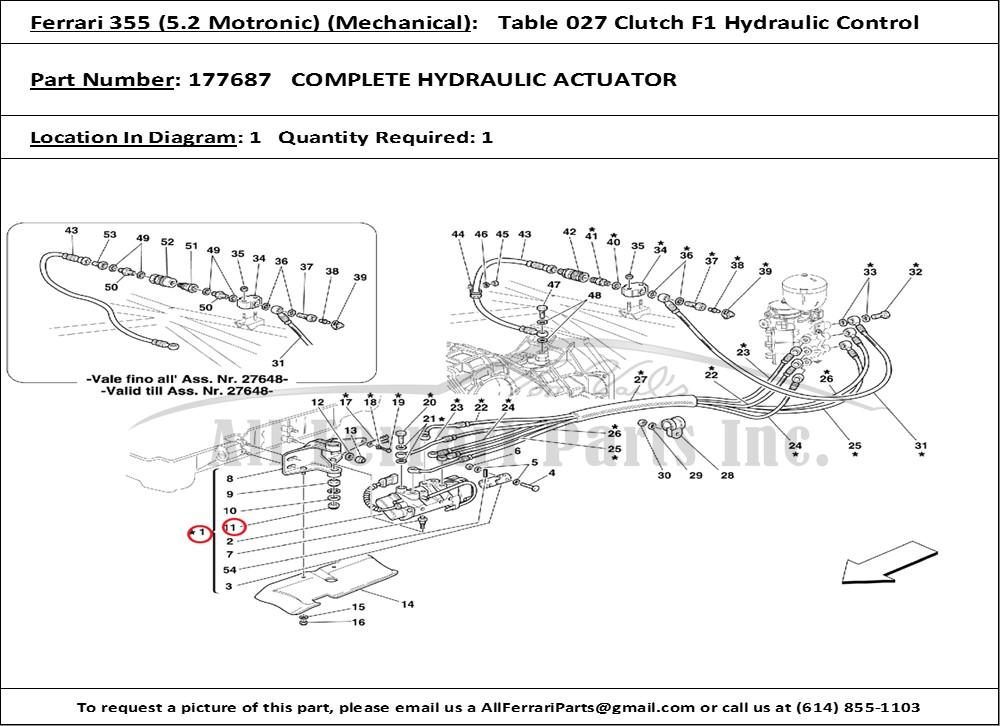 Ferrari part number 177687 COMPLETE HYDRAULIC ACTUATOR
