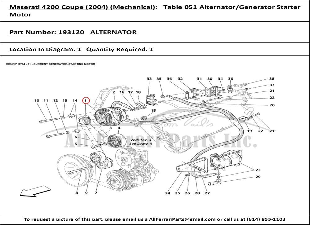 Ferrari part number 193120 ALTERNATOR