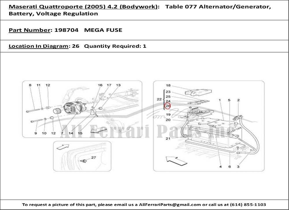 Ferrari part number 198704 MEGA FUSE