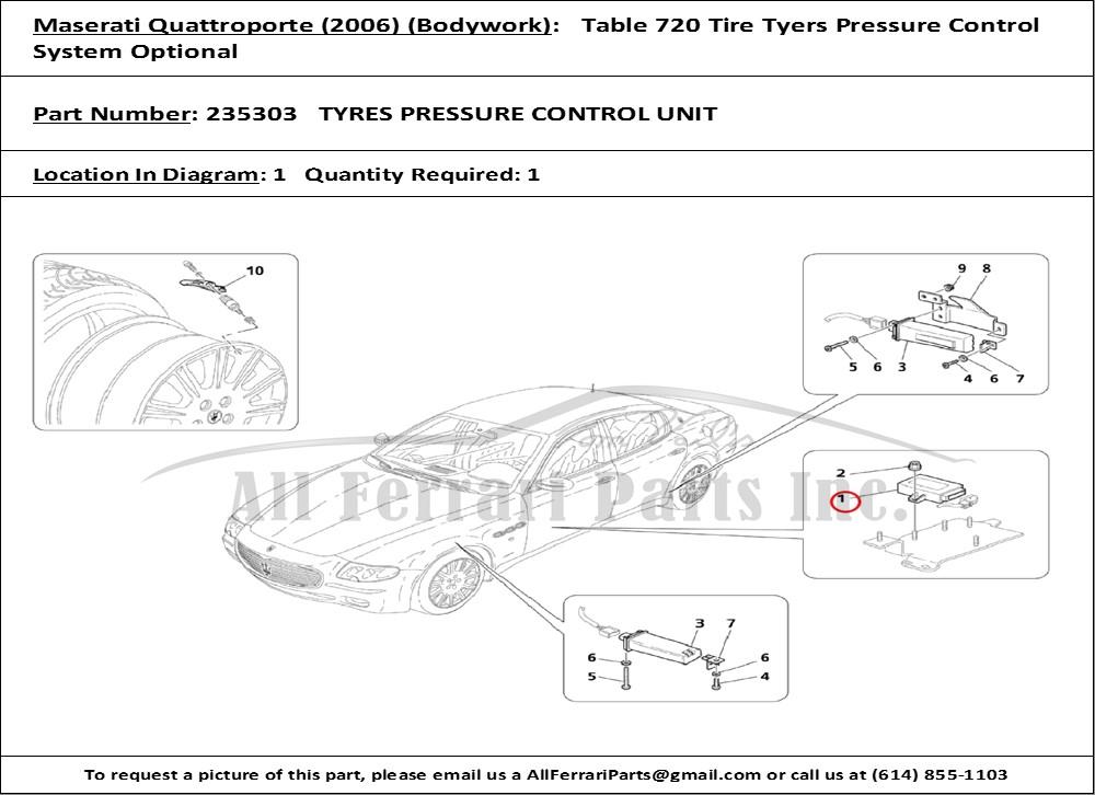Ferrari Part Number 235303 Tyres Pressure Control Unit