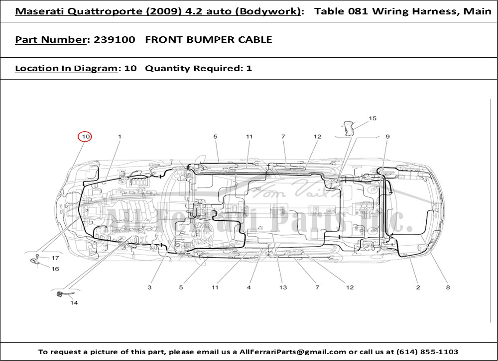 PN239100ID604953 ferrari part number 239100 front bumper cable 2006 maserati quattroporte wiring diagram at alyssarenee.co
