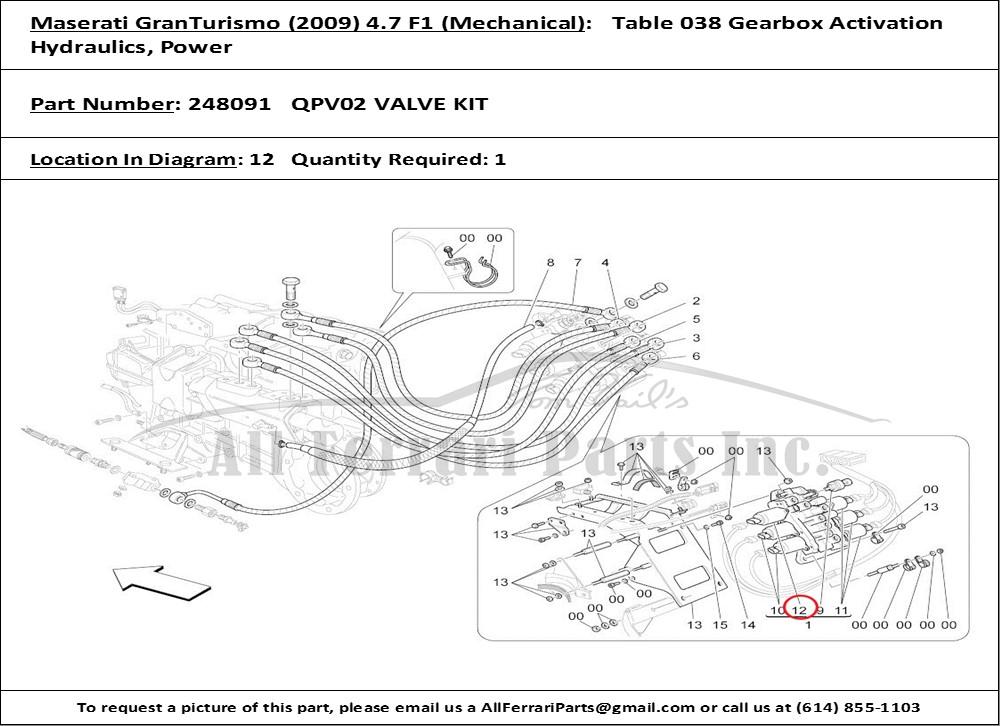Ferrari part number 248091 QPV02 VALVE KIT