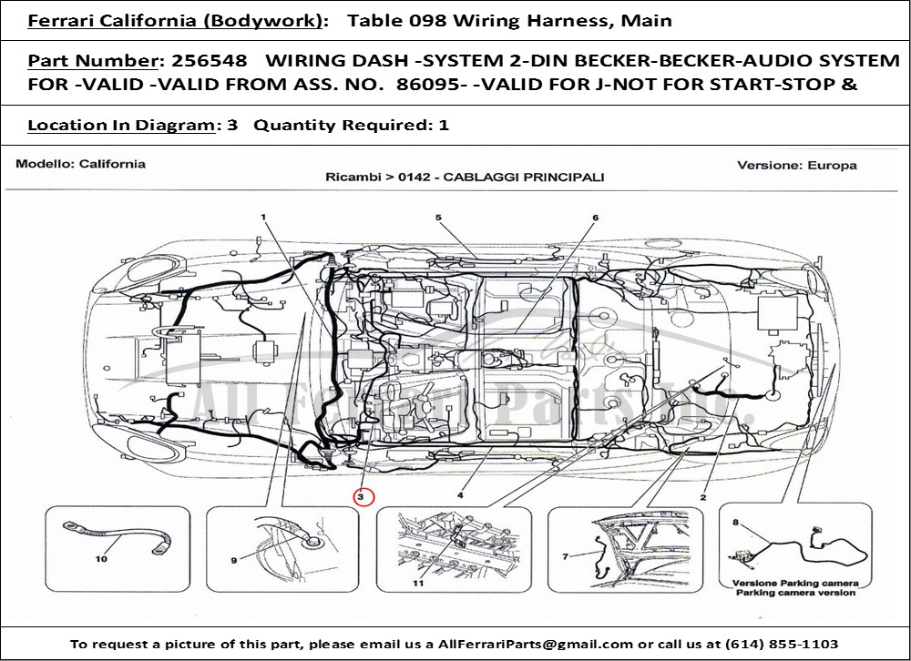 ferrari part number 256548 wiring dash -system 2-din ... ferrari parts diagram toshiba tv parts diagram