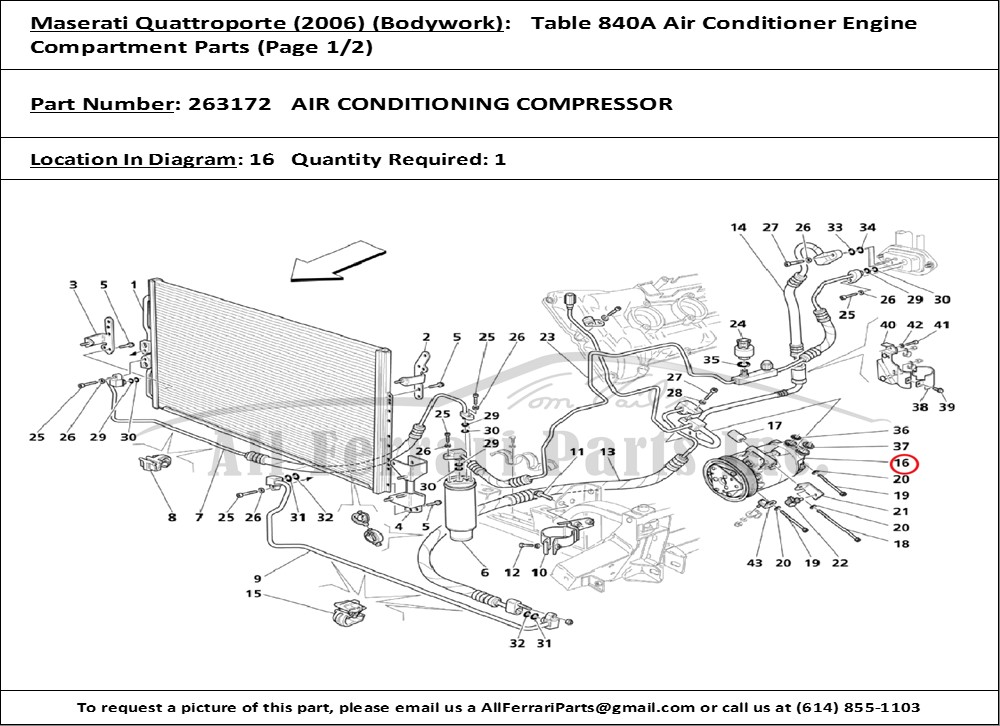 Air Cooling Parts : Ferrari part number air conditioning compressor