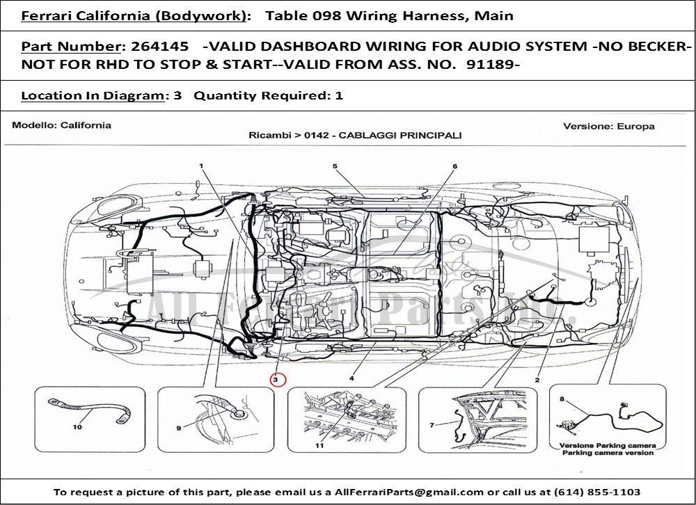 PN264145ID237322 ferrari part number 264145 valid dashboard wiring for audio 2006 maserati quattroporte wiring diagram at alyssarenee.co