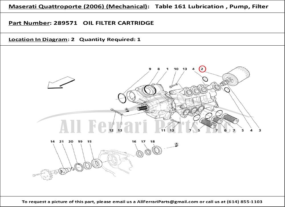 ferrari part number 289571 oil filter cartridge