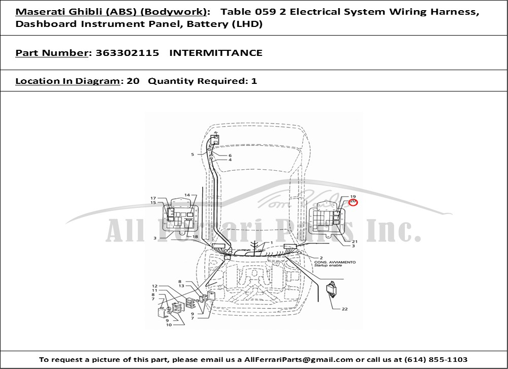 Ferrari part number 363302115 INTERMITTANCE on