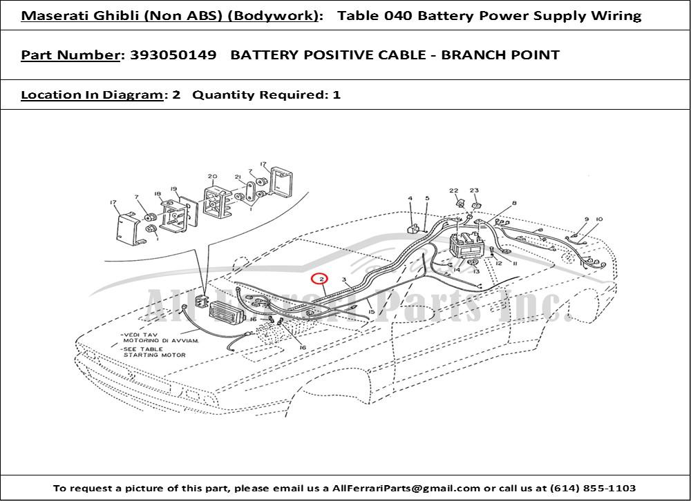 Ferrari Part Number 393050149 Battery Positive Cable