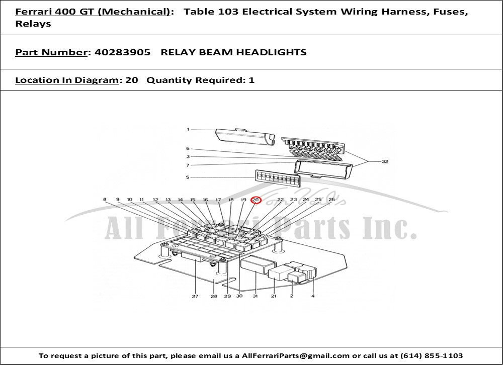PN40283905ID132563 ferrari part number 40283905 relay beam headlights ferrari 400i wiring diagram at edmiracle.co