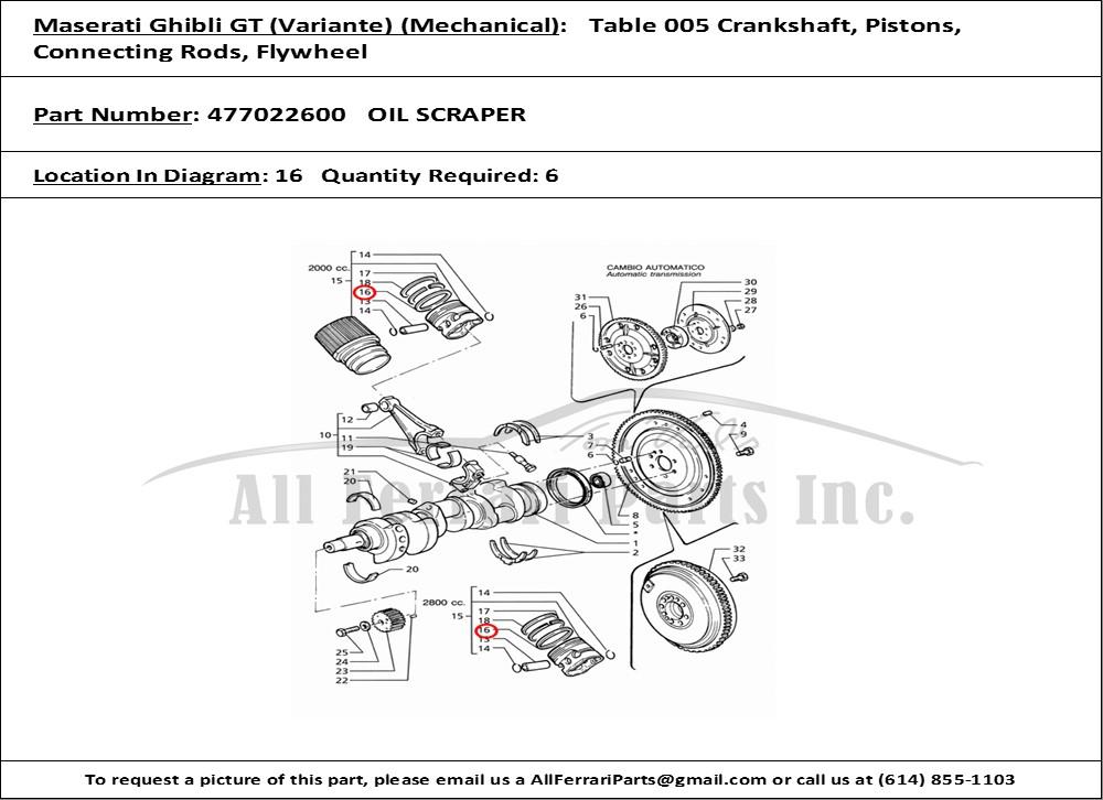 Ferrari part number 477022600 OIL SCRAPER