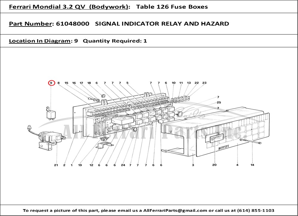 Ferrari Part Number 61048000 Signal Indicator Relay And Hazard