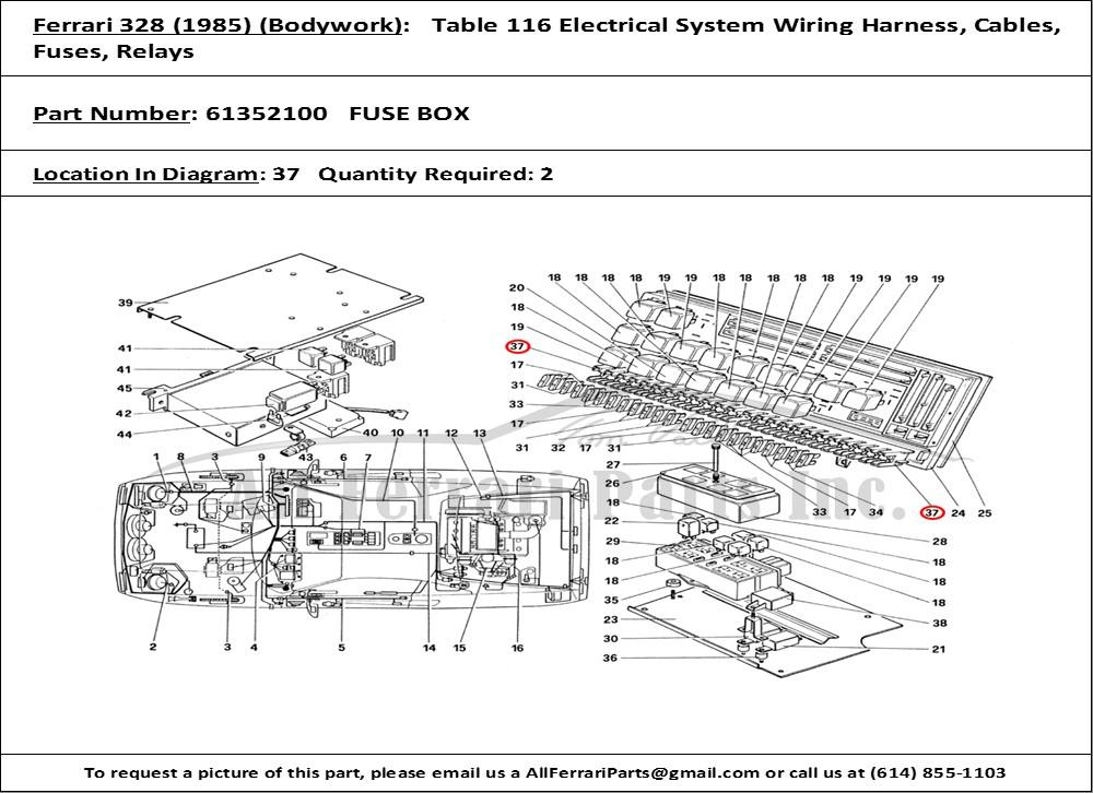 Ferrari Part Number 61352100 Fuse Box