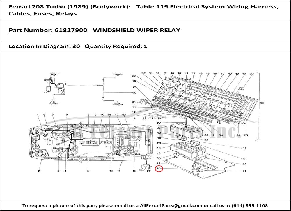 ferrari part number 61827900 windshield wiper relay ferrari electrical wiring diagram
