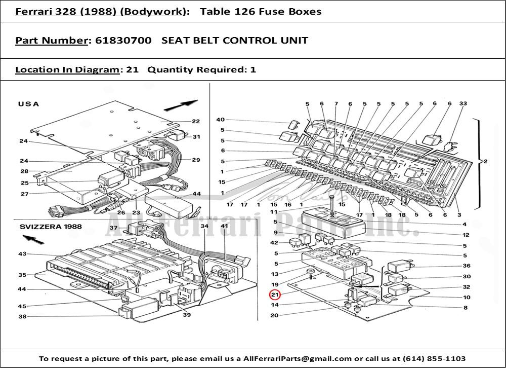 Ferrari part number 61830700 SEAT BELT CONTROL UNIT
