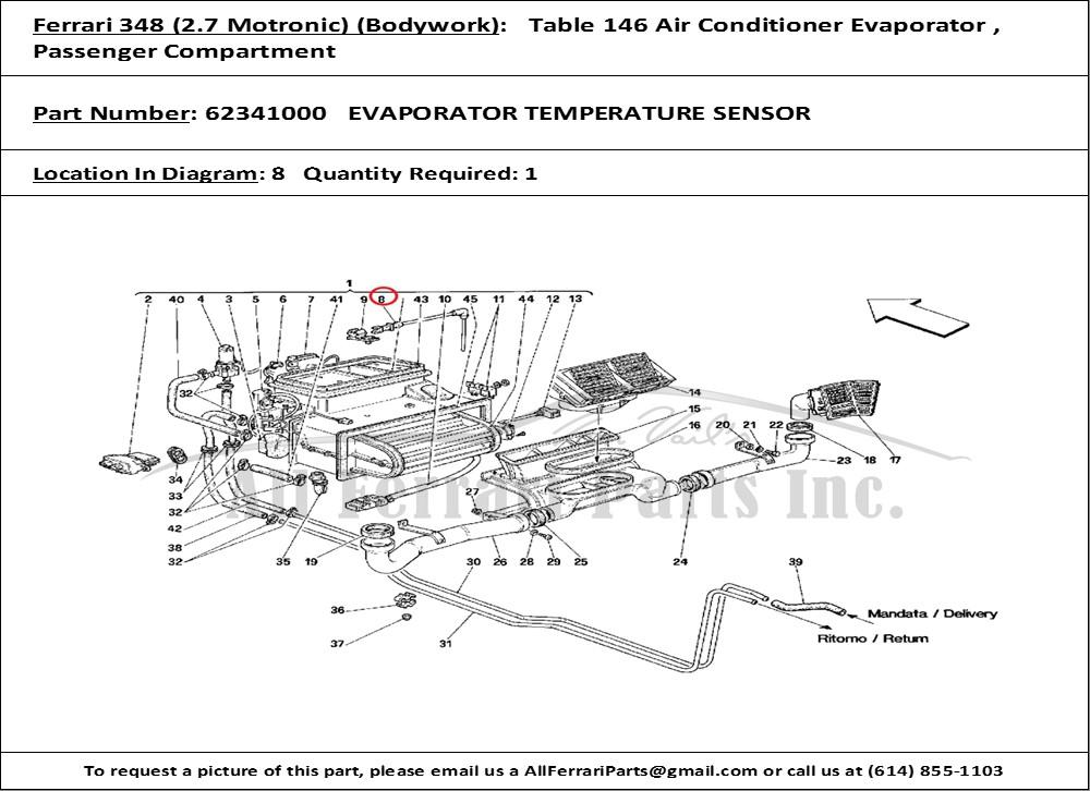 Ferrari part number 62341000 EVAPORATOR TEMPERATURE SENSOR