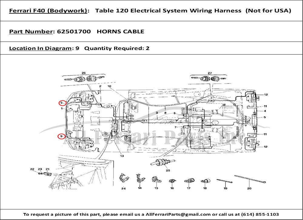 Groovy Ferrari Part Number 62501700 Horns Cable Wiring Digital Resources Ntnesshebarightsorg