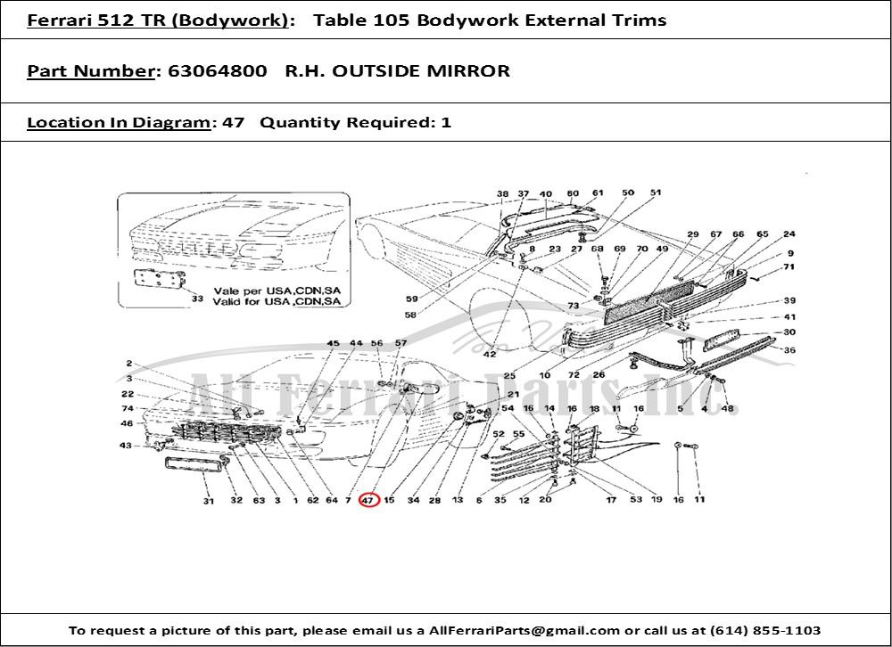 ferrari 512 tr for wiring diagram symbols for wiring diagram meter ferrari part number 63064800 r.h. outside mirror