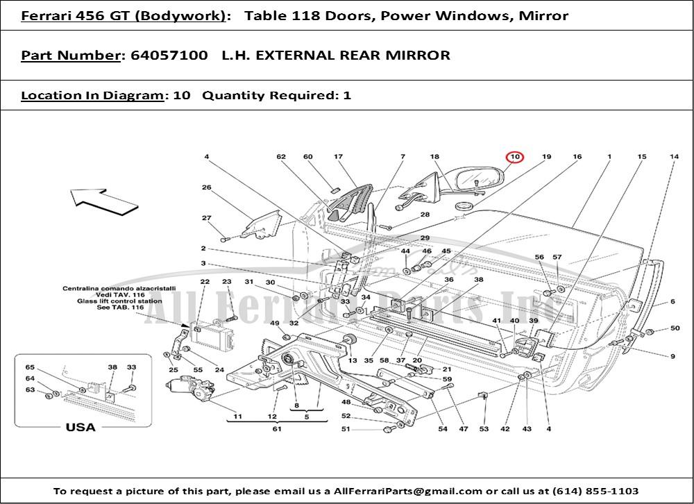 ferrari part number 64057100 l.h. external rear mirror ferrari 456 gt wiring diagrams volvo 242 gt wiring diagram
