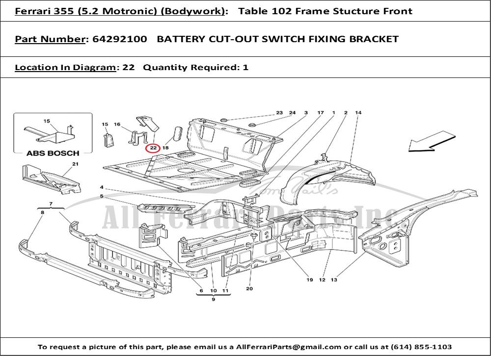 Ferrari Part Number 64292100 Battery Cut