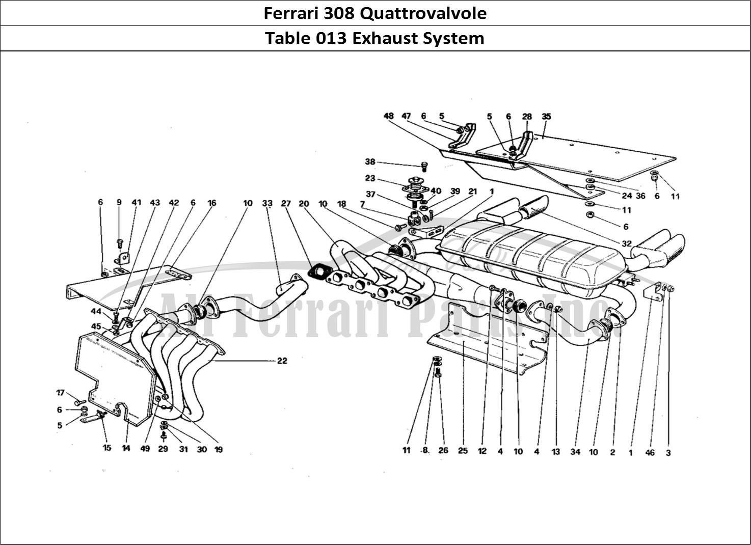 ferrari 308 quattrovalvole mechanical table 013 exhaust system