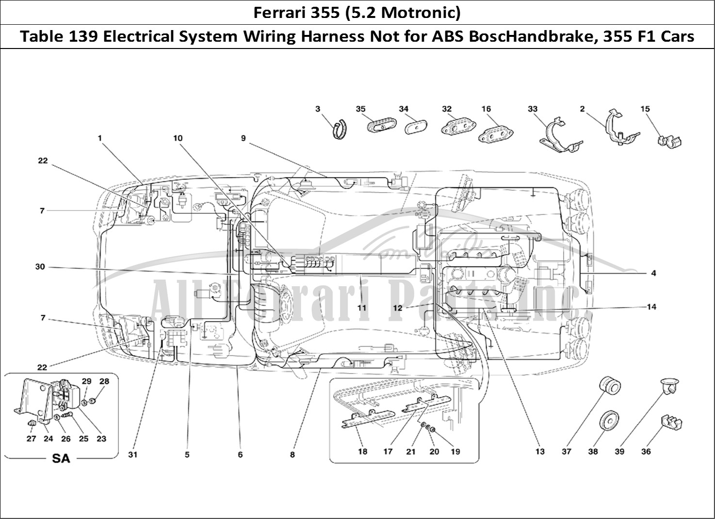 Ferrari 355 (5.2 Motronic) Bodywork Table 139 Electrical System Wiring  Harness Not for ABS BoscHandbrake, 355 F1 Cars