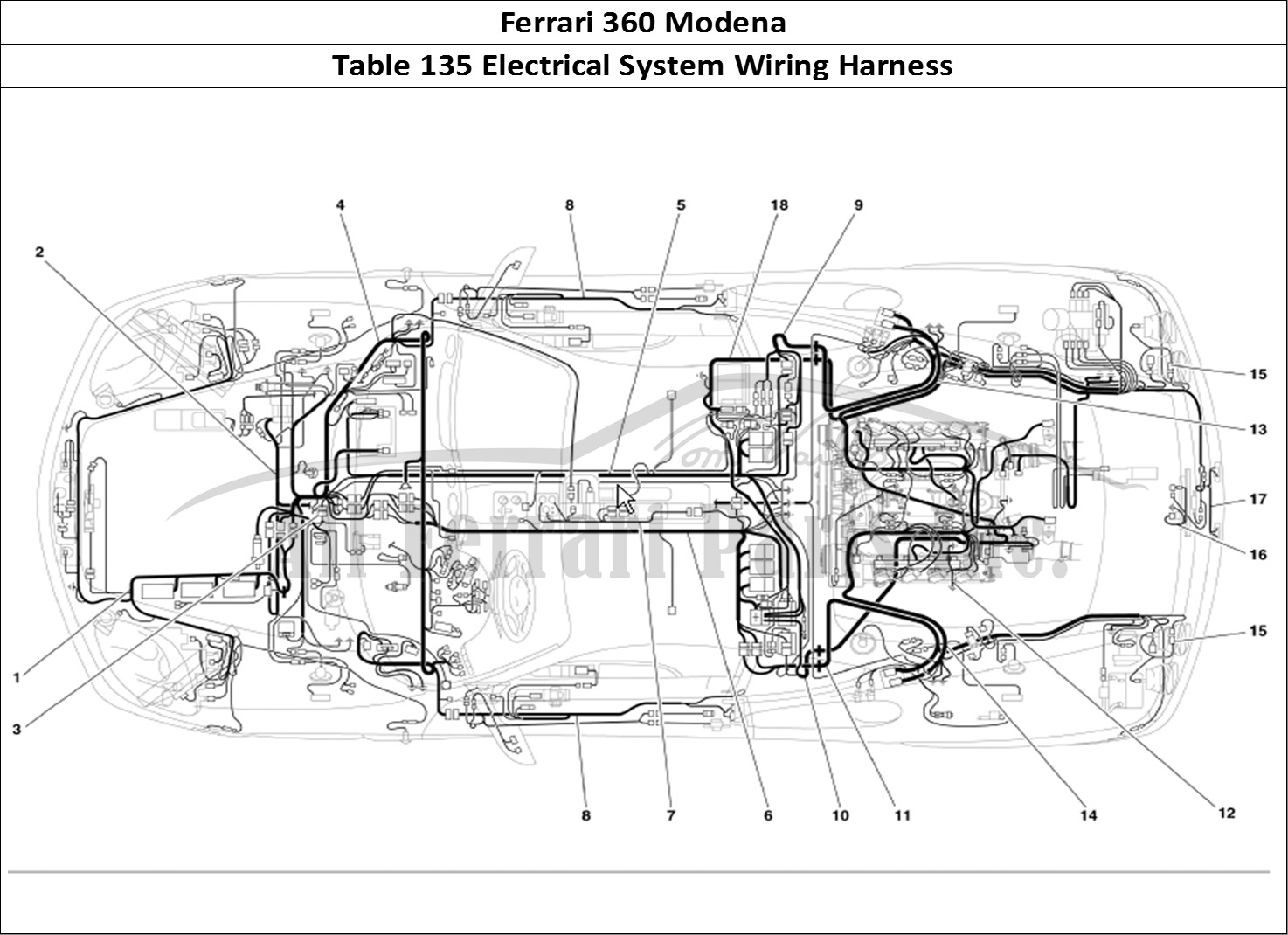 Ferrari modena bodywork table electrical system
