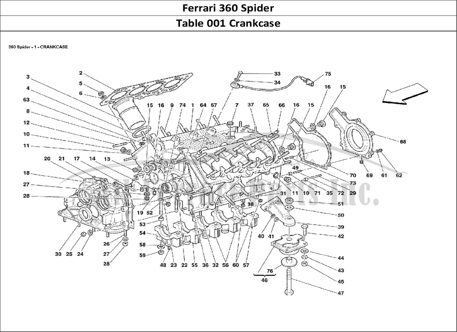buy original ferrari 360 spider 001 crankcase ferrari parts  spares  accessories online