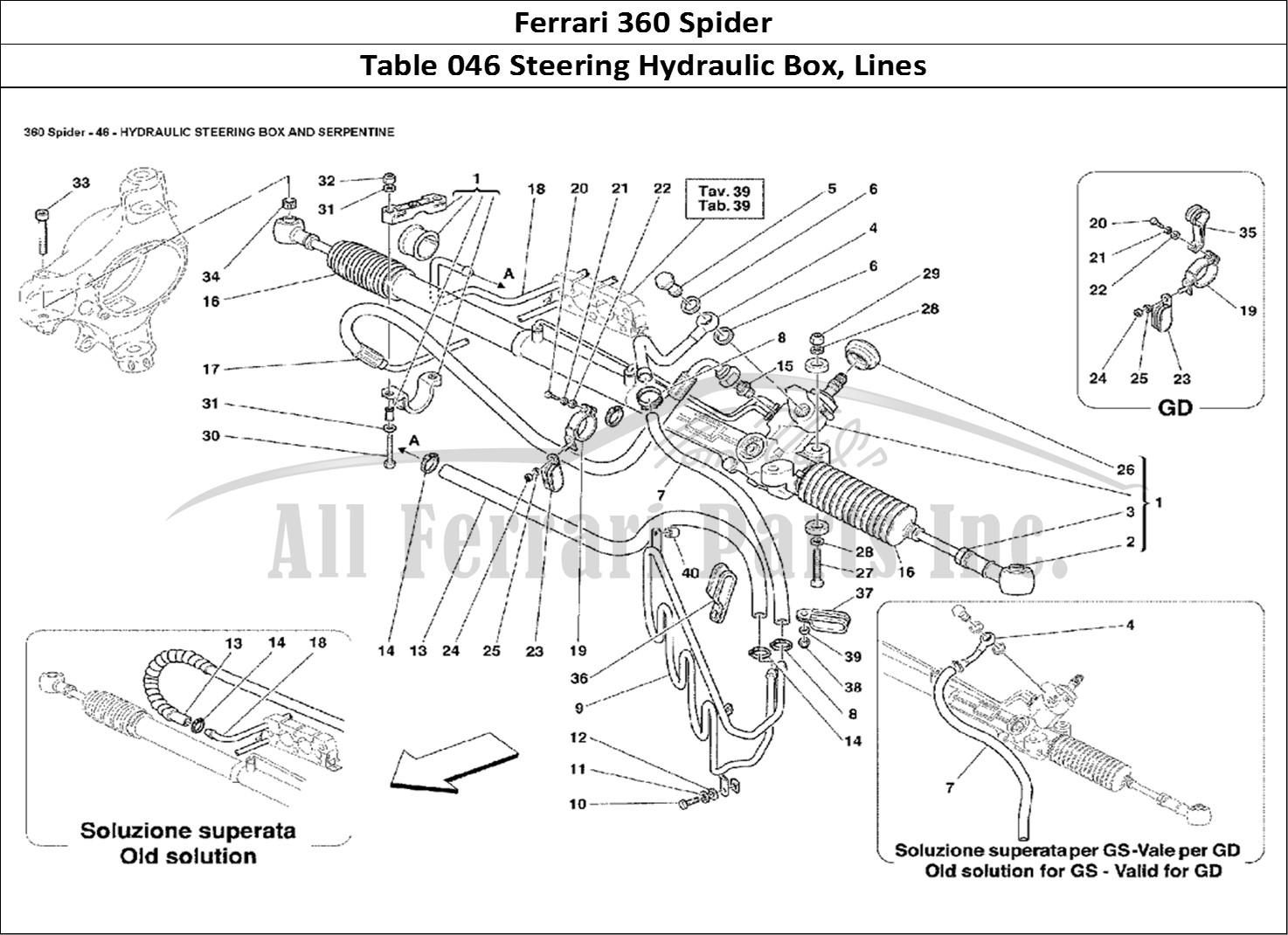buy original ferrari 360 spider 046 steering hydraulic box  lines ferrari parts  spares